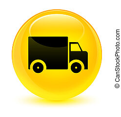 Delivery truck icon glassy yellow round button