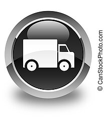 Delivery truck icon glossy black round button