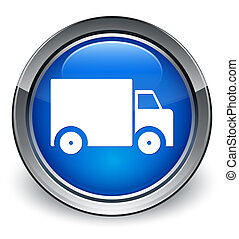 Delivery truck icon glossy blue button
