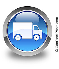 Delivery truck icon glossy blue round button