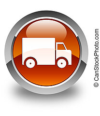 Delivery truck icon glossy brown round button