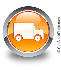Delivery truck icon glossy orange round button