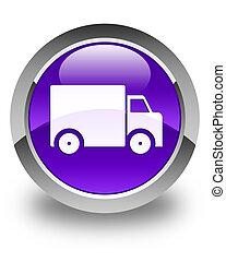 Delivery truck icon glossy purple round button