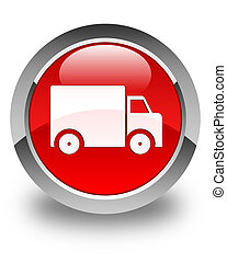 Delivery truck icon glossy red round button