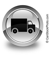 Delivery truck icon glossy white round button