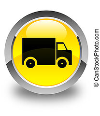 Delivery truck icon glossy yellow round button