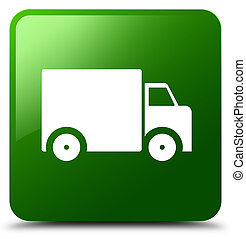 Delivery truck icon green square button