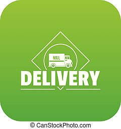 Delivery truck icon green vector