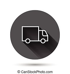 Delivery truck icon in flat style. Van vector illustration on black round background with long shadow effect. Cargo car circle button business concept.