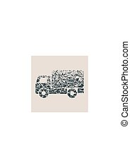 Delivery truck icon isolated. Grunge style vector ...