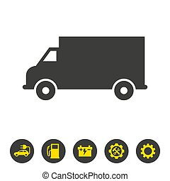 Delivery truck icon on white background.