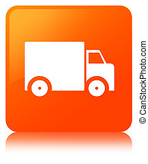 Delivery truck icon orange square button