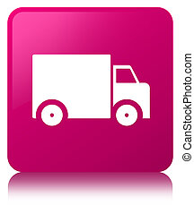 Delivery truck icon pink square button