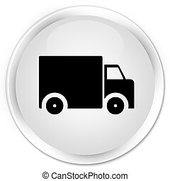Delivery truck icon premium white round button