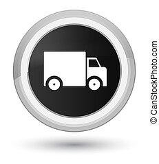 Delivery truck icon prime black round button