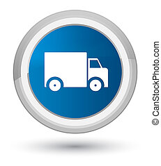 Delivery truck icon prime blue round button