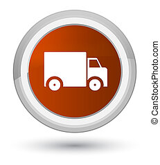 Delivery truck icon prime brown round button