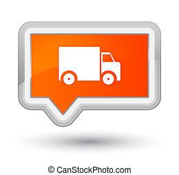 Delivery truck icon prime orange banner button