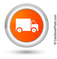 Delivery truck icon prime orange round button
