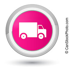Delivery truck icon prime pink round button