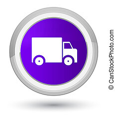Delivery truck icon prime purple round button