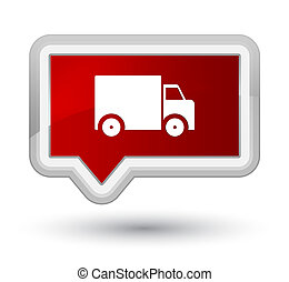 Delivery truck icon prime red banner button