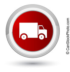 Delivery truck icon prime red round button