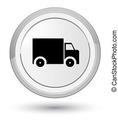 Delivery truck icon prime white round button