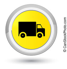 Delivery truck icon prime yellow round button