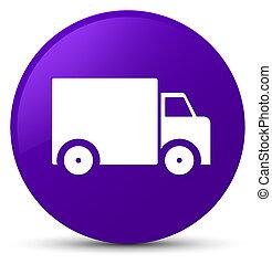 Delivery truck icon purple round button