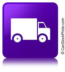 Delivery truck icon purple square button