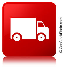 Delivery truck icon red square button