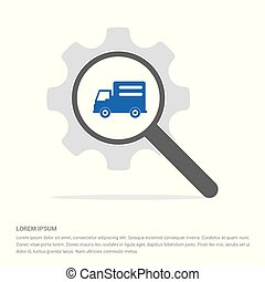 Delivery truck icon Search Glass with Gear Symbol Icon template