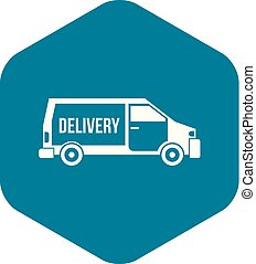 Delivery truck icon, simple style
