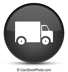 Delivery truck icon special black round button