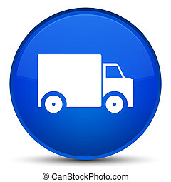 Delivery truck icon special blue round button