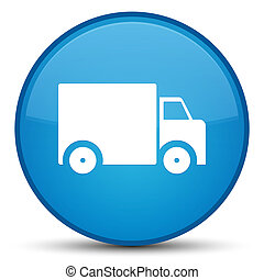 Delivery truck icon special cyan blue round button