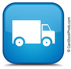 Delivery truck icon special cyan blue square button