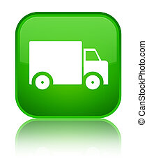 Delivery truck icon special green square button