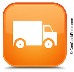 Delivery truck icon special orange square button