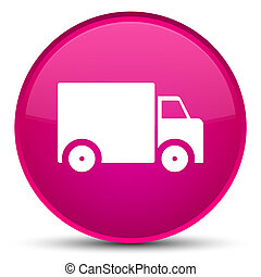 Delivery truck icon special pink round button