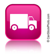 Delivery truck icon special pink square button