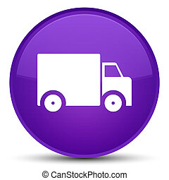 Delivery truck icon special purple round button
