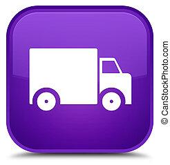 Delivery truck icon special purple square button