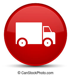 Delivery truck icon special red round button