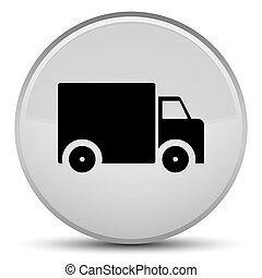 Delivery truck icon special white round button
