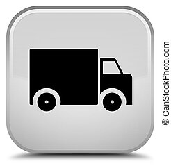 Delivery truck icon special white square button