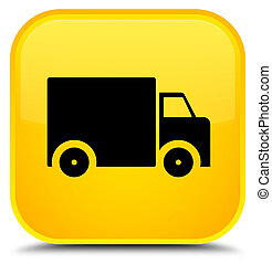 Delivery truck icon special yellow square button