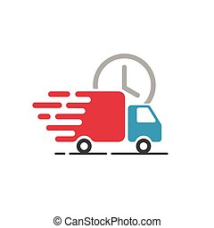 Delivery truck icon vector, cargo van moving, fast shipping...