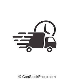 Delivery truck icon vector, fast shipping cargo van, courier...